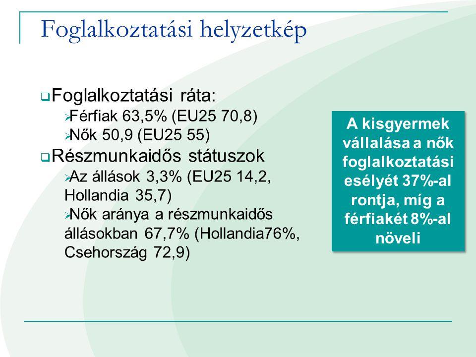 Foglalkoztatási helyzetkép  Foglalkoztatási ráta:  Férfiak 63,5% (EU25 70,8)  Nők 50,9 (EU25 55)  Részmunkaidős státuszok  Az állások 3,3% (EU25