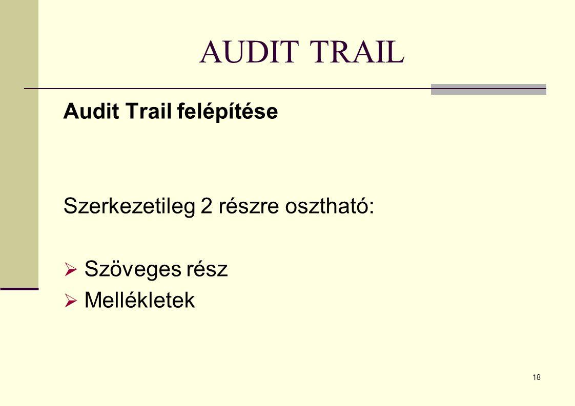 18 AUDIT TRAIL Audit Trail felépítése Szerkezetileg 2 részre osztható:  Szöveges rész  Mellékletek