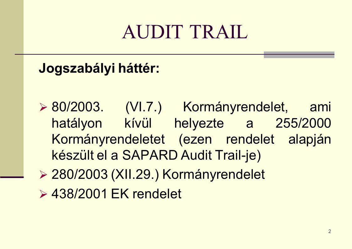 2 AUDIT TRAIL Jogszabályi háttér:  80/2003.