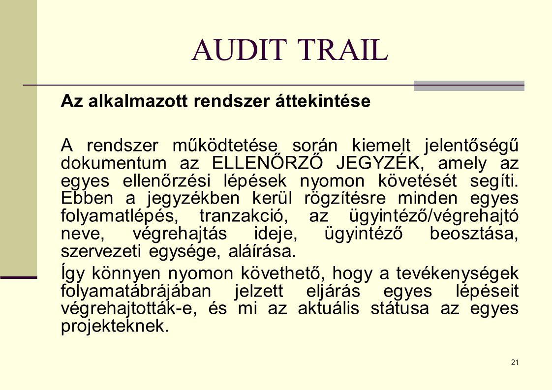 21 AUDIT TRAIL Az alkalmazott rendszer áttekintése A rendszer működtetése során kiemelt jelentőségű dokumentum az ELLENŐRZŐ JEGYZÉK, amely az egyes ellenőrzési lépések nyomon követését segíti.