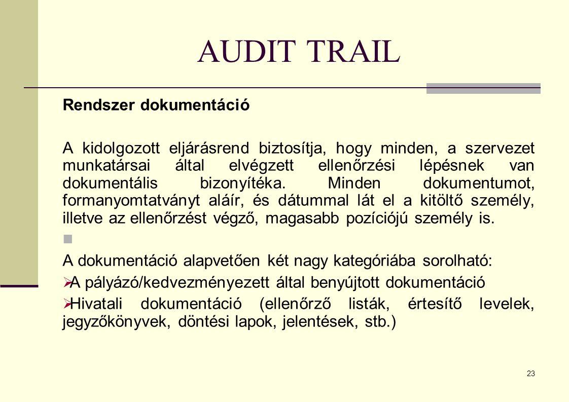 23 AUDIT TRAIL Rendszer dokumentáció A kidolgozott eljárásrend biztosítja, hogy minden, a szervezet munkatársai által elvégzett ellenőrzési lépésnek van dokumentális bizonyítéka.