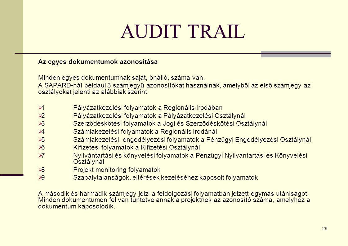 26 AUDIT TRAIL Az egyes dokumentumok azonosítása Minden egyes dokumentumnak saját, önálló, száma van.