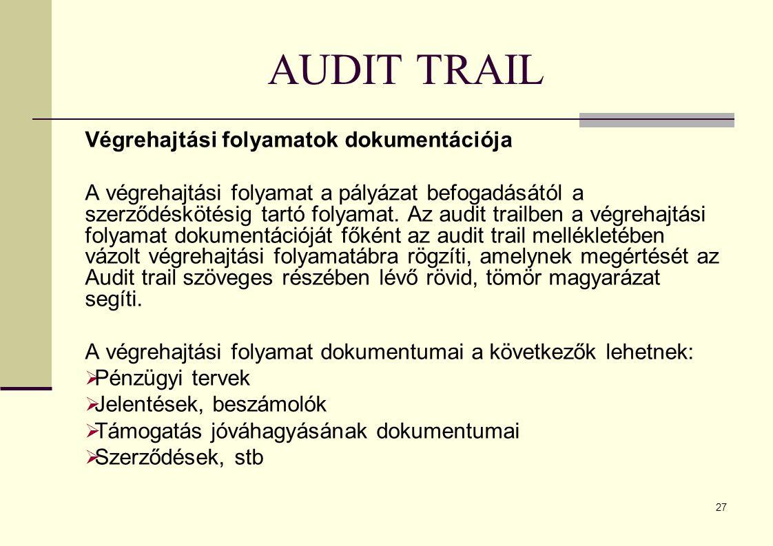 27 AUDIT TRAIL Végrehajtási folyamatok dokumentációja A végrehajtási folyamat a pályázat befogadásától a szerződéskötésig tartó folyamat.