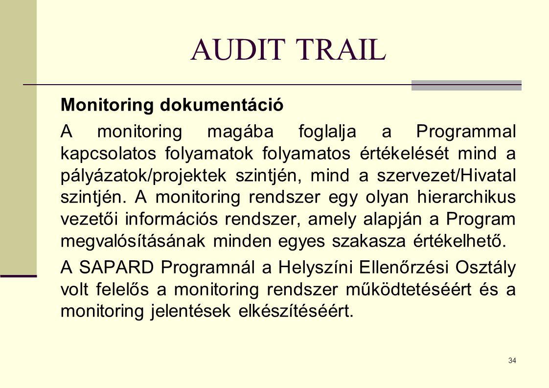 34 AUDIT TRAIL Monitoring dokumentáció A monitoring magába foglalja a Programmal kapcsolatos folyamatok folyamatos értékelését mind a pályázatok/projektek szintjén, mind a szervezet/Hivatal szintjén.