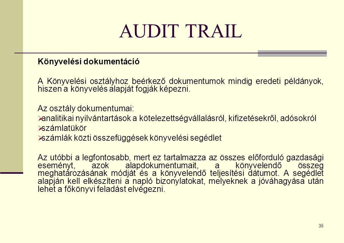 35 AUDIT TRAIL Könyvelési dokumentáció A Könyvelési osztályhoz beérkező dokumentumok mindig eredeti példányok, hiszen a könyvelés alapját fogják képezni.
