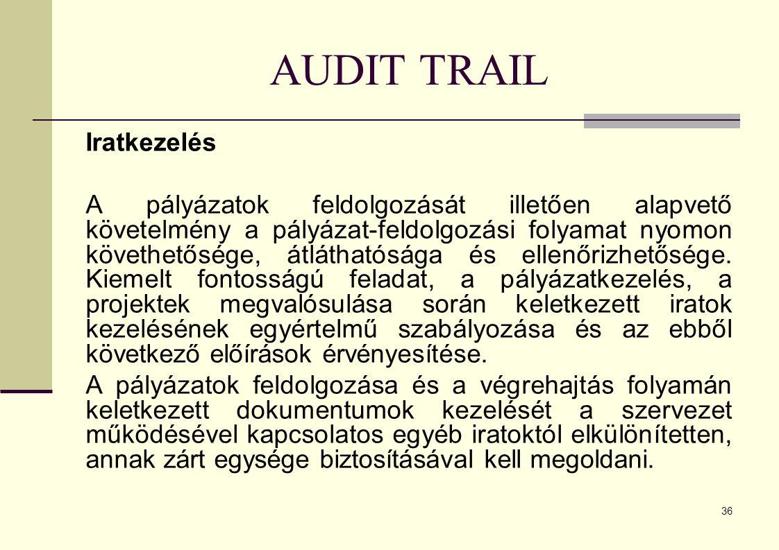 36 AUDIT TRAIL Iratkezelés A pályázatok feldolgozását illetően alapvető követelmény a pályázat-feldolgozási folyamat nyomon követhetősége, átláthatósága és ellenőrizhetősége.