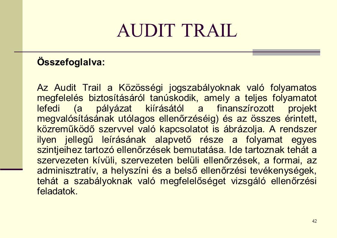 42 AUDIT TRAIL Összefoglalva: Az Audit Trail a Közösségi jogszabályoknak való folyamatos megfelelés biztosításáról tanúskodik, amely a teljes folyamatot lefedi (a pályázat kiírásától a finanszírozott projekt megvalósításának utólagos ellenőrzéséig) és az összes érintett, közreműködő szervvel való kapcsolatot is ábrázolja.