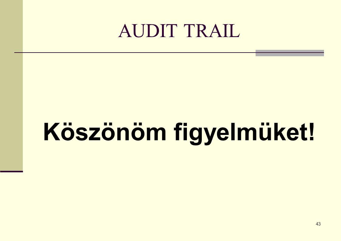 43 AUDIT TRAIL Köszönöm figyelmüket!