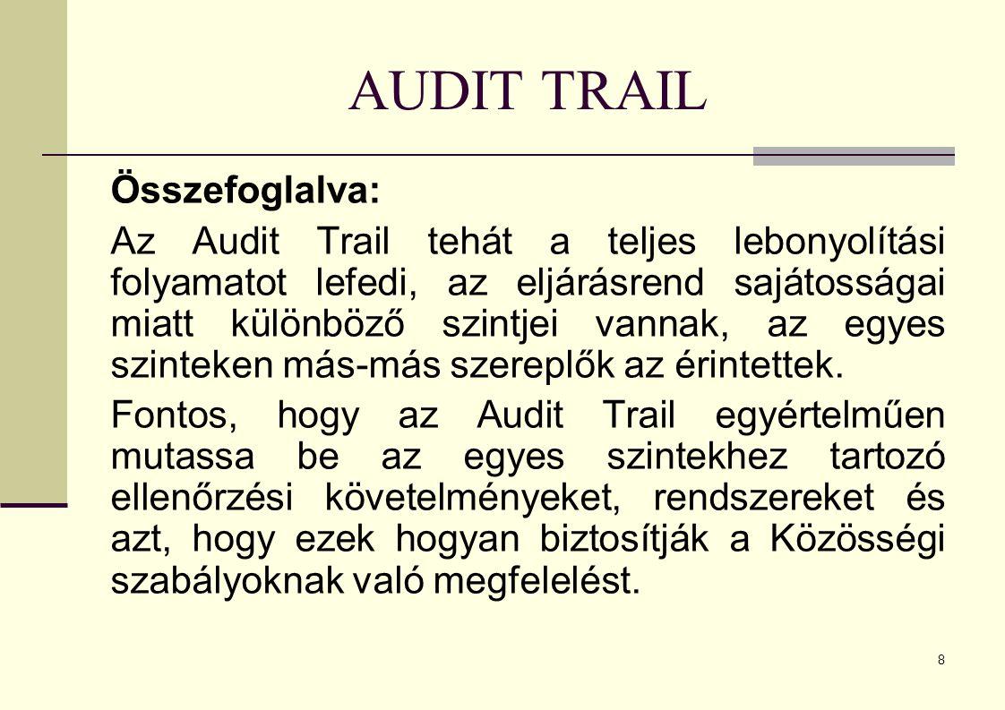 8 AUDIT TRAIL Összefoglalva: Az Audit Trail tehát a teljes lebonyolítási folyamatot lefedi, az eljárásrend sajátosságai miatt különböző szintjei vannak, az egyes szinteken más-más szereplők az érintettek.