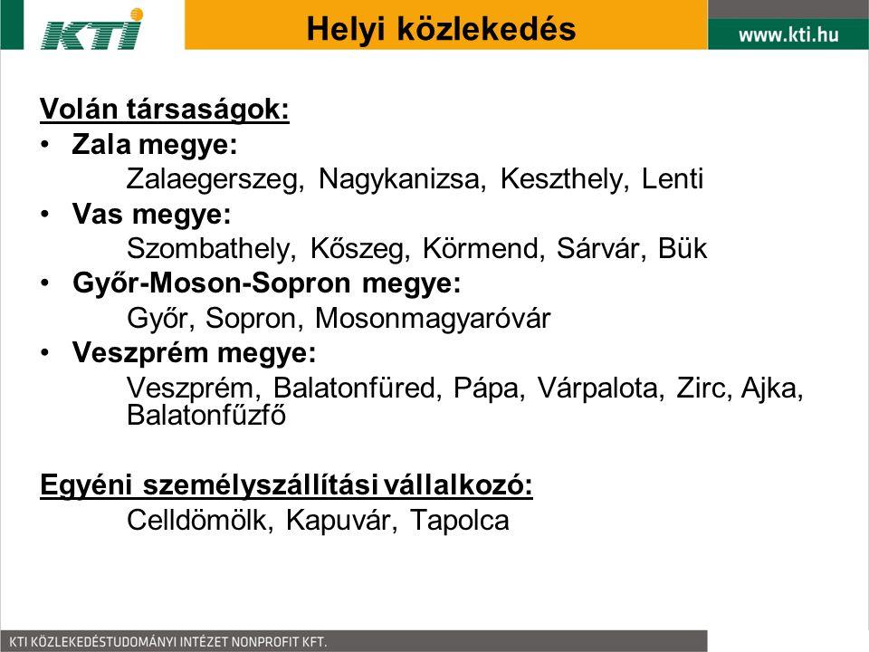 Volán társaságok: Zala megye: Zalaegerszeg, Nagykanizsa, Keszthely, Lenti Vas megye: Szombathely, Kőszeg, Körmend, Sárvár, Bük Győr-Moson-Sopron megye