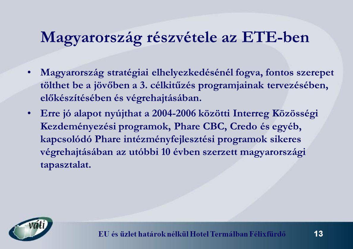 EU és üzlet határok nélkül Hotel Termálban Félixfürdő 13 Magyarország részvétele az ETE-ben Magyarország stratégiai elhelyezkedésénél fogva, fontos sz