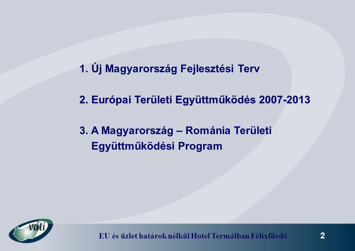 EU és üzlet határok nélkül Hotel Termálban Félixfürdő 2 1. Új Magyarország Fejlesztési Terv 2. Európai Területi Együttműködés 2007-2013 3. A Magyarors