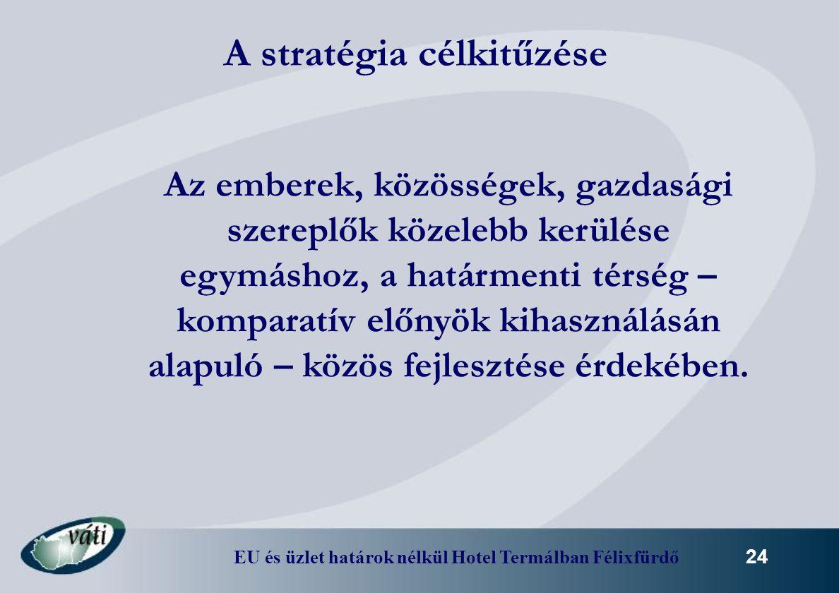 EU és üzlet határok nélkül Hotel Termálban Félixfürdő 24 A stratégia célkitűzése Az emberek, közösségek, gazdasági szereplők közelebb kerülése egymásh