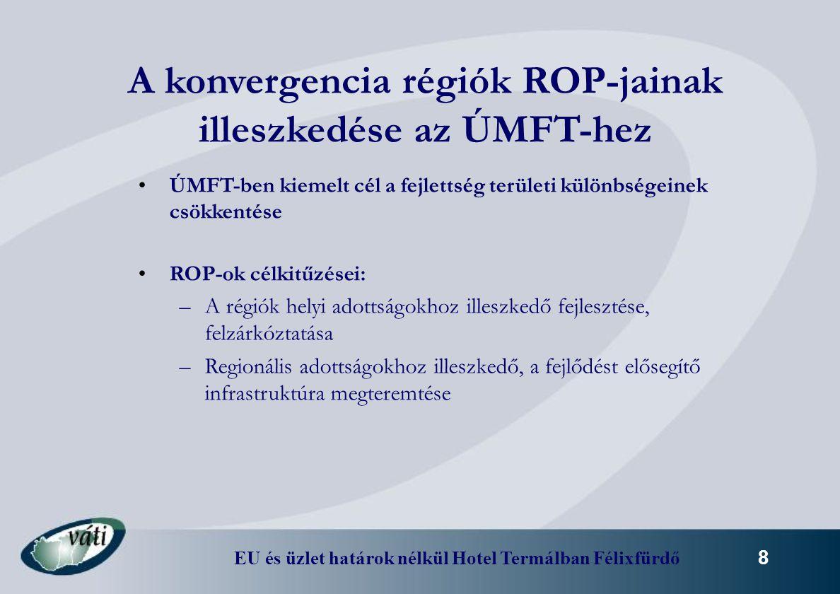 EU és üzlet határok nélkül Hotel Termálban Félixfürdő 8 A konvergencia régiók ROP-jainak illeszkedése az ÚMFT-hez ÚMFT-ben kiemelt cél a fejlettség te