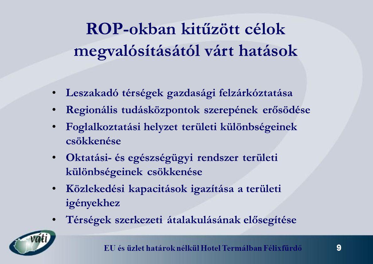 EU és üzlet határok nélkül Hotel Termálban Félixfürdő 10 Allokált források* Mrd HUF (millió EUR) Nyugat-dunántúli OP147,9 (545,6) Közép-dunántúli OP161,9 (597,6) Dél-dunántúli OP224,8 (829,6) Dél-alföldi OP237,8 (880,8) Észak-magyarországi OP288,1 (1063,2) Észak-alföldi OP310,9 (1147,1) * EU-s és hazai állami társfinanszírozás, folyó áron, 271 HUF/EUR árfolyam