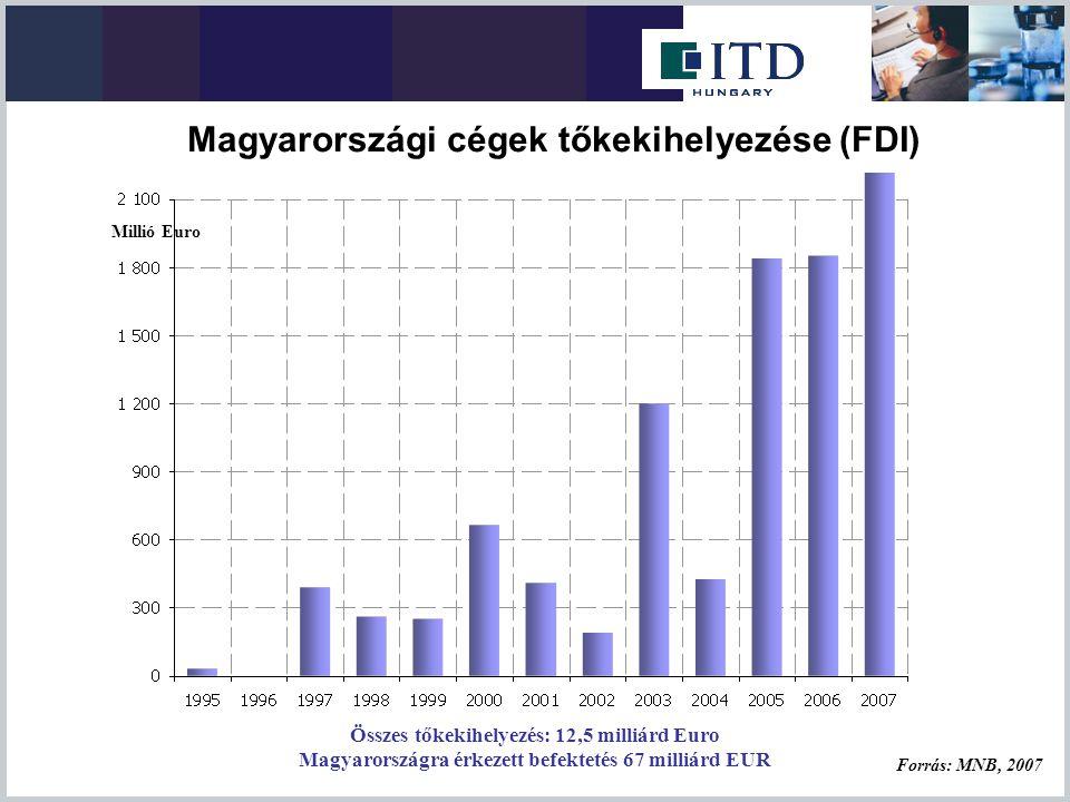 Összes tőkekihelyezés: 12,5 milliárd Euro Magyarországra érkezett befektetés 67 milliárd EUR Forrás: MNB, 2007 Millió Euro Magyarországi cégek tőkekih