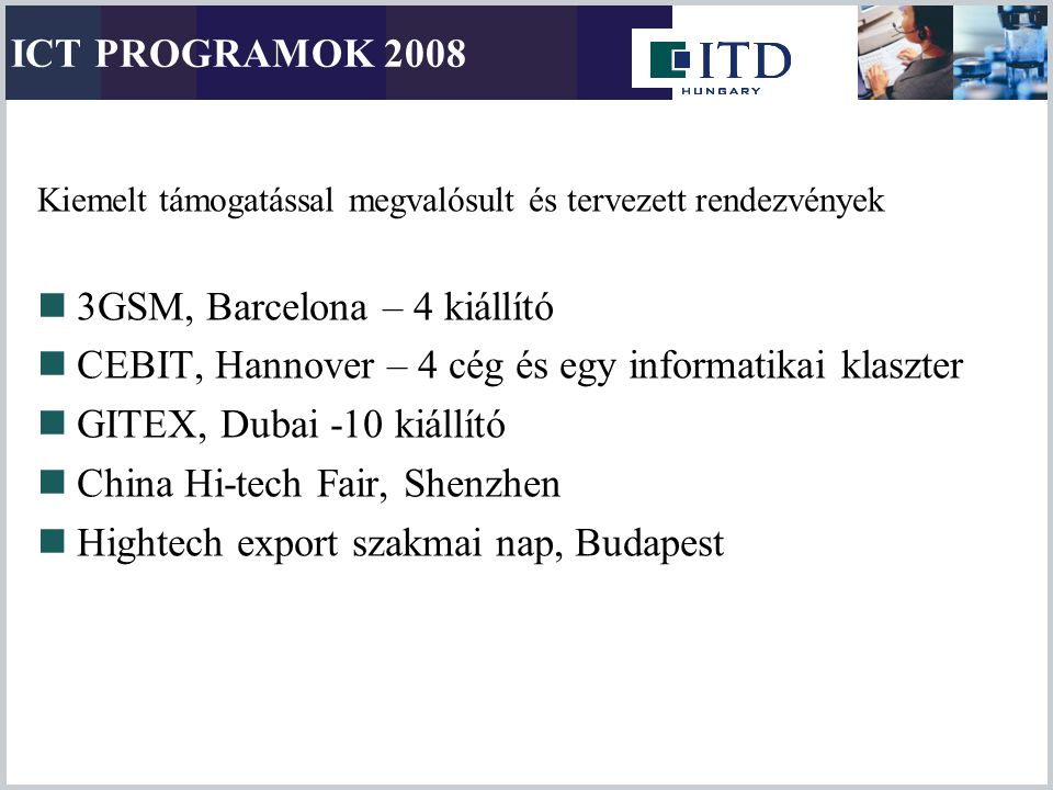 ICT PROGRAMOK 2008 Kiemelt támogatással megvalósult és tervezett rendezvények 3GSM, Barcelona – 4 kiállító CEBIT, Hannover – 4 cég és egy informatikai
