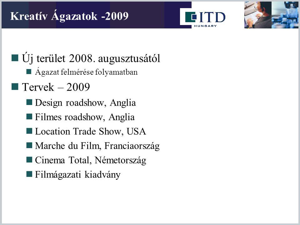 Kreatív Ágazatok -2009 Új terület 2008. augusztusától Ágazat felmérése folyamatban Tervek – 2009 Design roadshow, Anglia Filmes roadshow, Anglia Locat