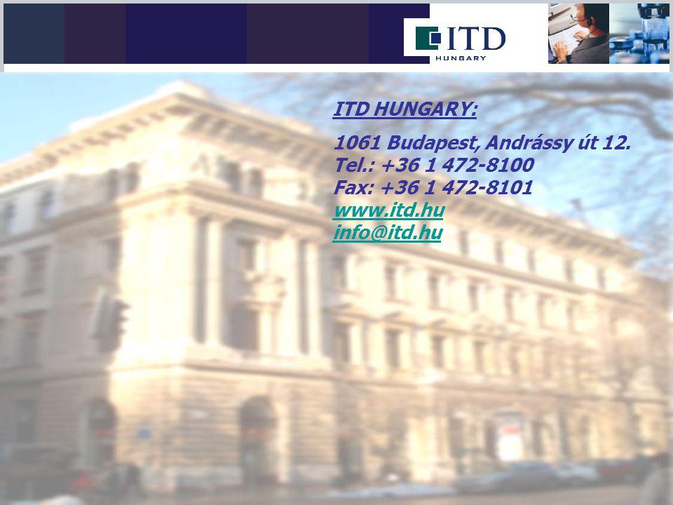 ITD HUNGARY: 1061 Budapest, Andrássy út 12. Tel.: +36 1 472-8100 Fax: +36 1 472-8101 www.itd.hu info@itd.hu