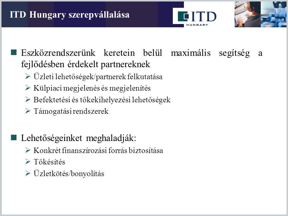 ITD Hungary szerepvállalása Eszközrendszerünk keretein belül maximális segítség a fejlődésben érdekelt partnereknek  Üzleti lehetőségek/partnerek fel