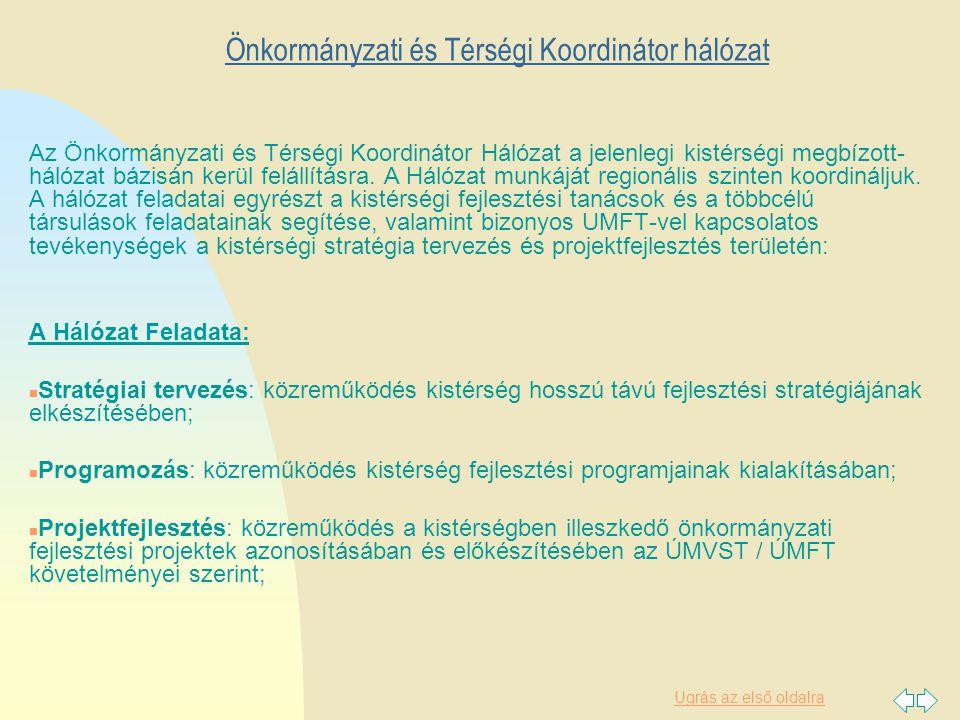 Ugrás az első oldalra Önkormányzati és Térségi Koordinátor hálózat Az Önkormányzati és Térségi Koordinátor Hálózat a jelenlegi kistérségi megbízott- hálózat bázisán kerül felállításra.