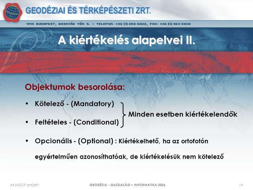 Az MGCP projekt GEODÉZIA - GAZDASÁG – INFORMATIKA 2006 14 A kiértékelés alapelvei II. Objektumok besorolása: Kötelező - (Mandatory) Feltételes - (Cond