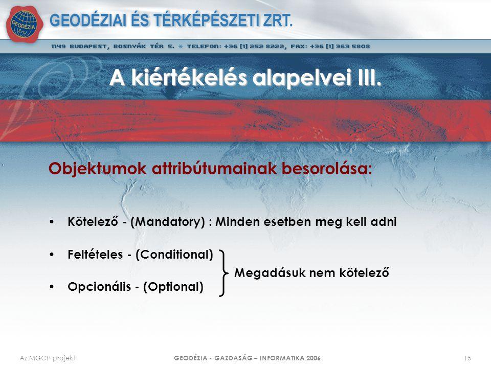 Az MGCP projekt GEODÉZIA - GAZDASÁG – INFORMATIKA 2006 15 Objektumok attribútumainak besorolása: Kötelező - (Mandatory) : Minden esetben meg kell adni Feltételes - (Conditional) Opcionális - (Optional) A kiértékelés alapelvei III.