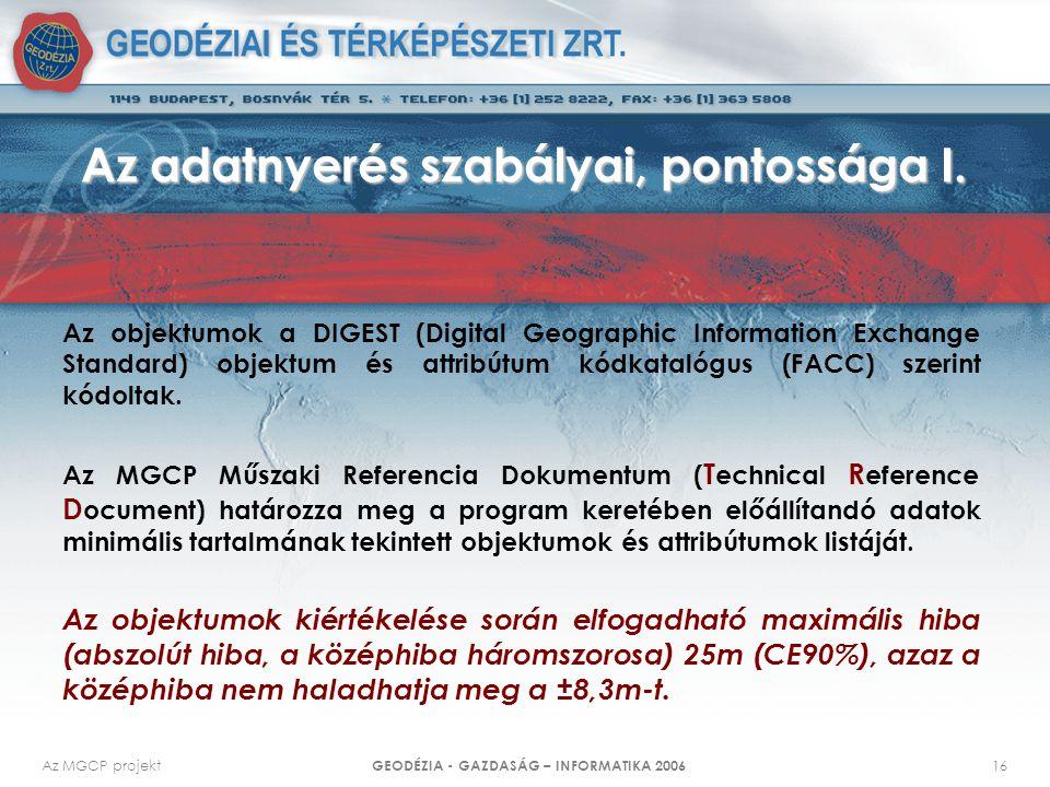 Az MGCP projekt GEODÉZIA - GAZDASÁG – INFORMATIKA 2006 16 Az adatnyerés szabályai, pontossága I.