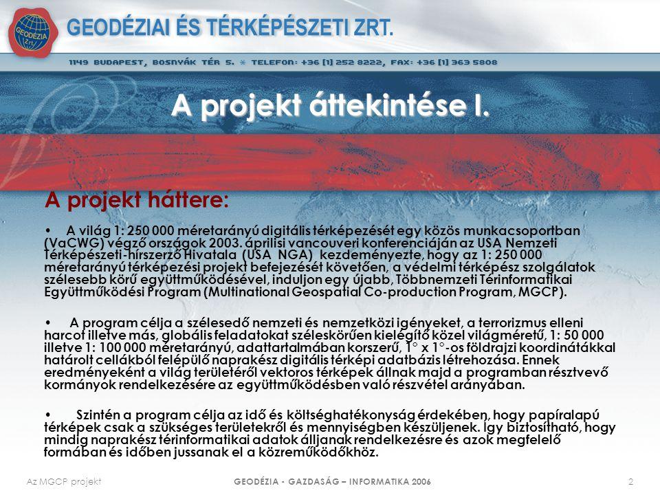 Az MGCP projekt GEODÉZIA - GAZDASÁG – INFORMATIKA 2006 13 A kiértékelés alapelvei I.