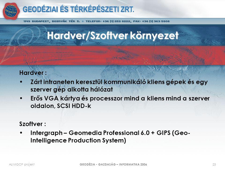 Az MGCP projekt GEODÉZIA - GAZDASÁG – INFORMATIKA 2006 23 Hardver/Szoftver környezet Hardver : Zárt intraneten keresztül kommunikáló kliens gépek és egy szerver gép alkotta hálózat Erős VGA kártya és processzor mind a kliens mind a szerver oldalon, SCSI HDD-k Szoftver : Intergraph – Geomedia Professional 6.0 + GIPS (Geo- Intelligence Production System)