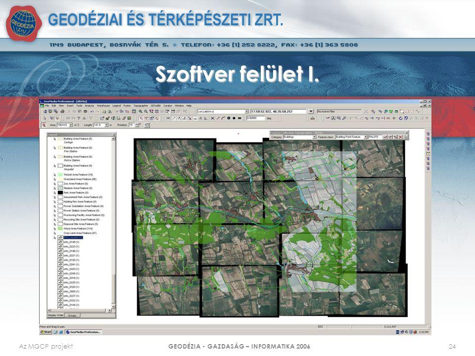 Az MGCP projekt GEODÉZIA - GAZDASÁG – INFORMATIKA 2006 24 Szoftver felület I.