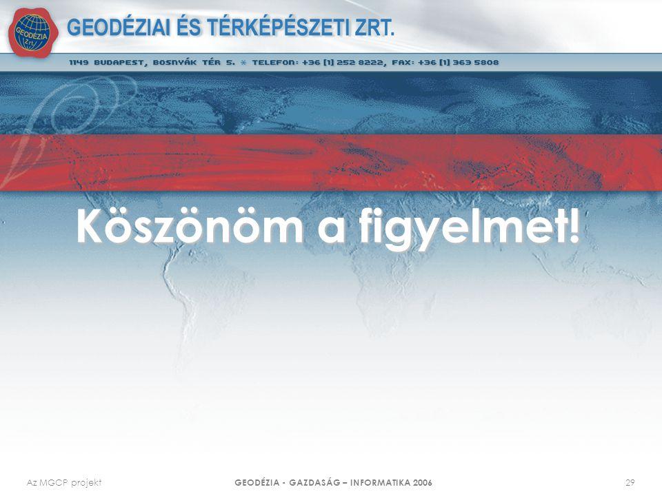 Az MGCP projekt GEODÉZIA - GAZDASÁG – INFORMATIKA 2006 29 Köszönöm a figyelmet!