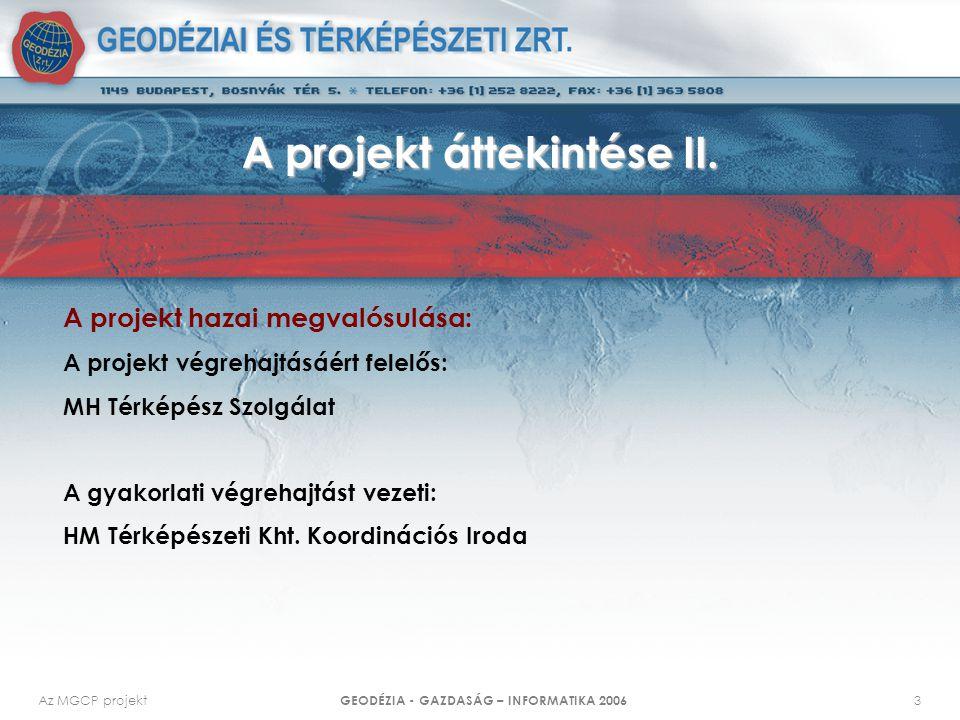 Az MGCP projekt GEODÉZIA - GAZDASÁG – INFORMATIKA 2006 3 A projekt áttekintése II. A projekt hazai megvalósulása: A projekt végrehajtásáért felelős: M