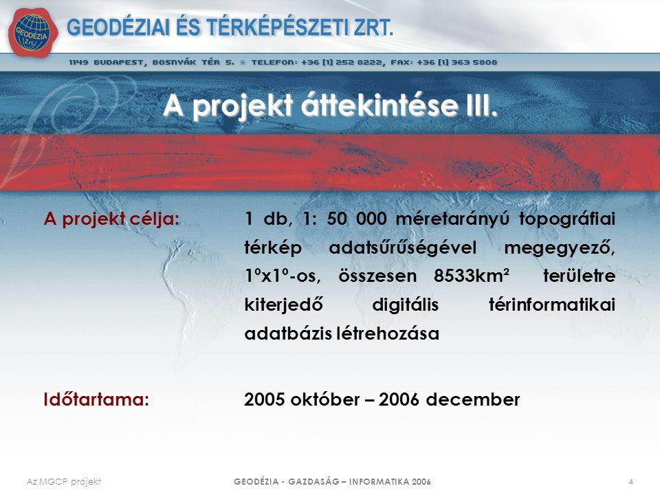 Az MGCP projekt GEODÉZIA - GAZDASÁG – INFORMATIKA 2006 4 A projekt áttekintése III. A projekt célja: 1 db, 1: 50 000 méretarányú topográfiai térkép ad