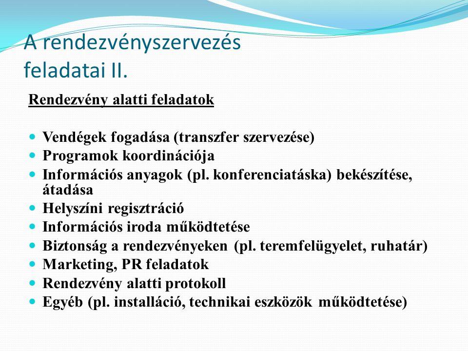 A rendezvényszervezés feladatai II. Rendezvény alatti feladatok Vendégek fogadása (transzfer szervezése) Programok koordinációja Információs anyagok (