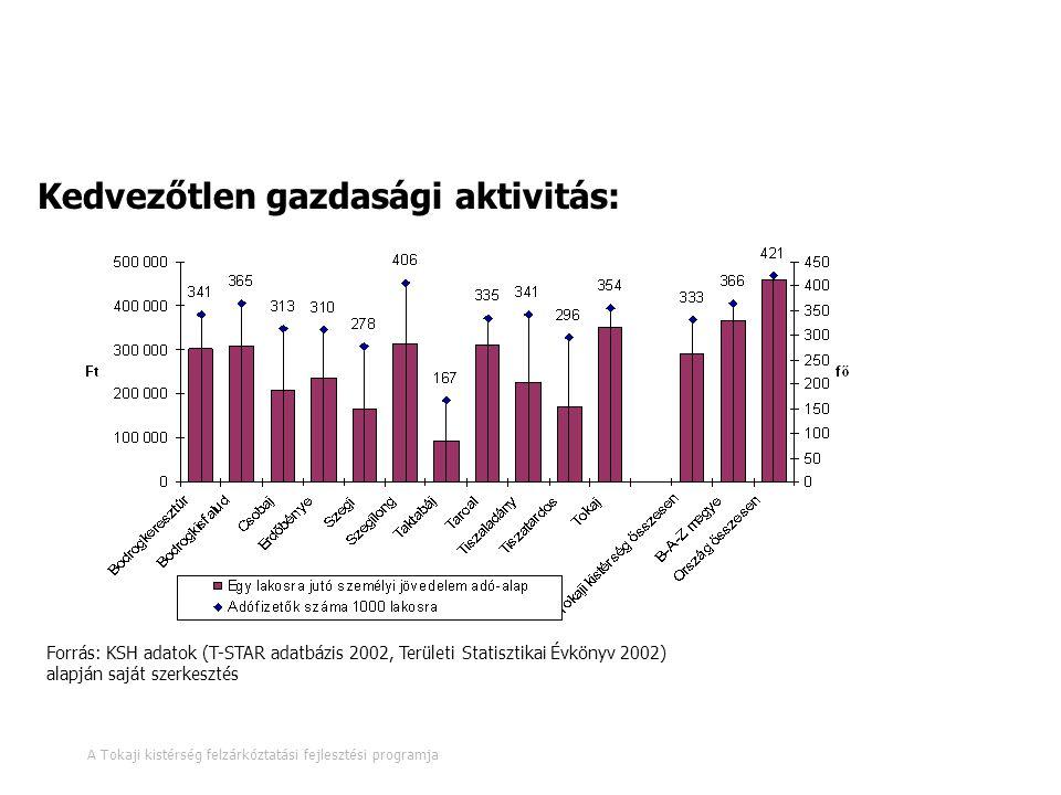 Munkaerőpiac, humánerőforrások 12. oldal A Tokaji kistérség felzárkóztatási fejlesztési programja Kedvezőtlen gazdasági aktivitás: Forrás: KSH adatok