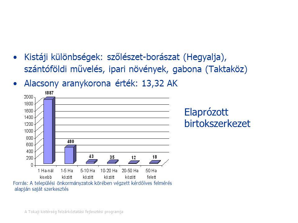 Gazdasági szerkezet - Mezőgazdaság Kistáji különbségek: szőlészet-borászat (Hegyalja), szántóföldi művelés, ipari növények, gabona (Taktaköz) Alacsony