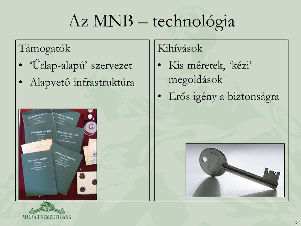 Az MNB – technológia Támogatók 'Űrlap-alapú' szervezet Alapvető infrastruktúra Kihívások Kis méretek, 'kézi' megoldások Erős igény a biztonságra 6