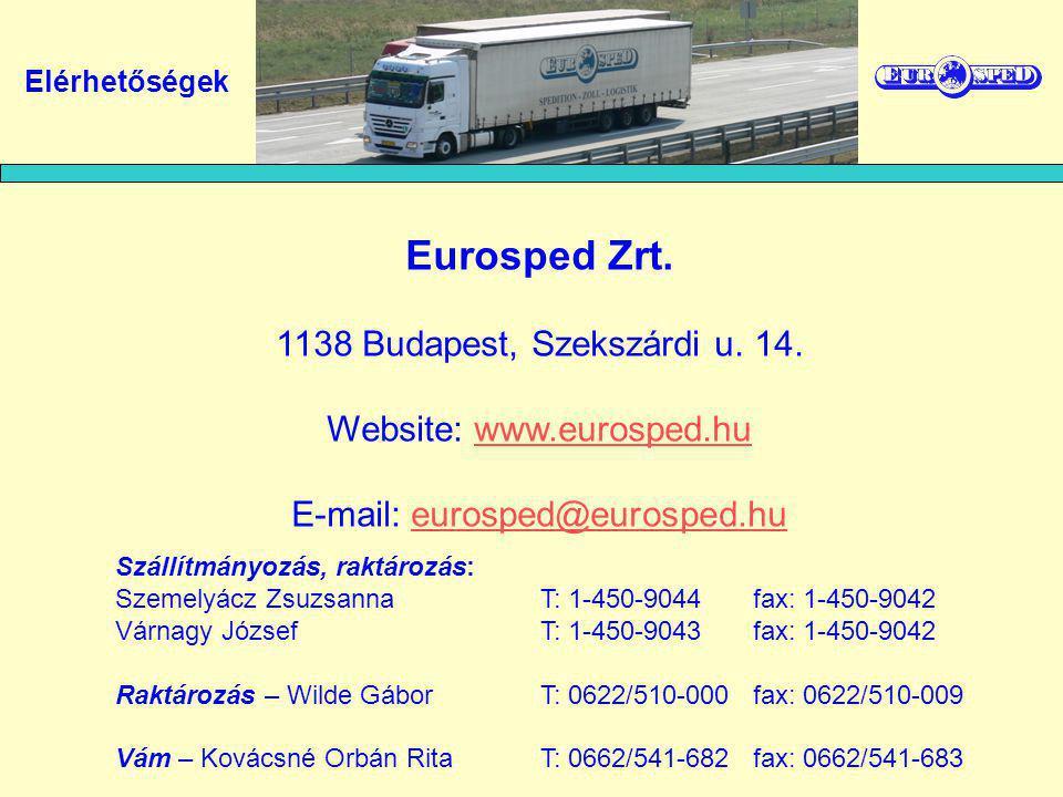 Elérhetőségek Eurosped Zrt. 1138 Budapest, Szekszárdi u. 14. Website: www.eurosped.huwww.eurosped.hu E-mail: eurosped@eurosped.hueurosped@eurosped.hu