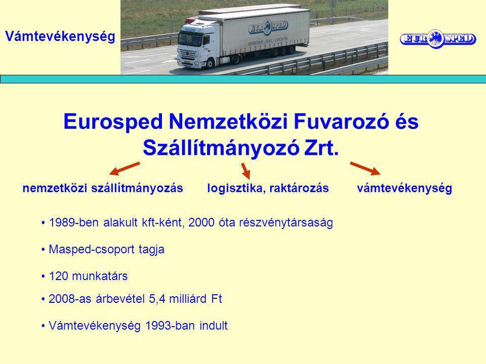 Eurosped Nemzetközi Fuvarozó és Szállítmányozó Zrt. 1989-ben alakult kft-ként, 2000 óta részvénytársaság 120 munkatárs nemzetközi szállítmányozás logi