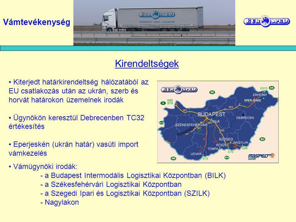 Kiterjedt határkirendeltség hálózatából az EU csatlakozás után az ukrán, szerb és horvát határokon üzemelnek irodák Ügynökön keresztül Debrecenben TC32 értékesítés Eperjeskén (ukrán határ) vasúti import vámkezelés Kirendeltségek Vámügynöki irodák: - a Budapest Intermodális Logisztikai Központban (BILK) - a Székesfehérvári Logisztikai Központban - a Szegedi Ipari és Logisztikai Központban (SZILK) - Nagylakon EPERJESKE Vámtevékenység