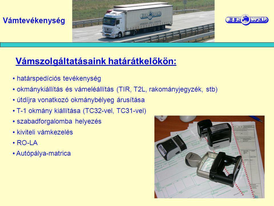 határspedíciós tevékenység okmánykiállítás és vámeléállítás (TIR, T2L, rakományjegyzék, stb) útdíjra vonatkozó okmánybélyeg árusítása T-1 okmány kiáll