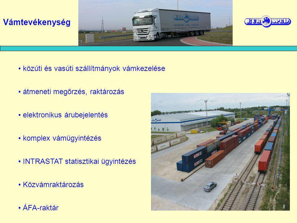közúti és vasúti szállítmányok vámkezelése átmeneti megőrzés, raktározás elektronikus árubejelentés komplex vámügyintézés INTRASTAT statisztikai ügyintézés Közvámraktározás ÁFA-raktár Vámtevékenység