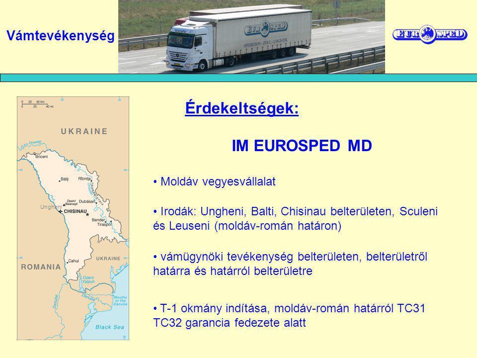 Moldáv vegyesvállalat vámügynöki tevékenység belterületen, belterületről határra és határról belterületre T-1 okmány indítása, moldáv-román határról TC31 TC32 garancia fedezete alatt Irodák: Ungheni, Balti, Chisinau belterületen, Sculeni és Leuseni (moldáv-román határon) Érdekeltségek: IM EUROSPED MD Vámtevékenység Ungheni
