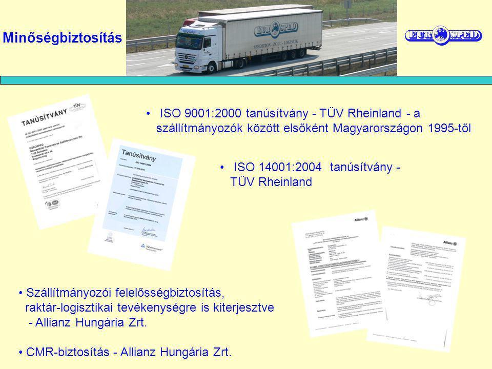Minőségbiztosítás ISO 9001:2000 tanúsítvány - TÜV Rheinland - a szállítmányozók között elsőként Magyarországon 1995-től Szállítmányozói felelősségbizt