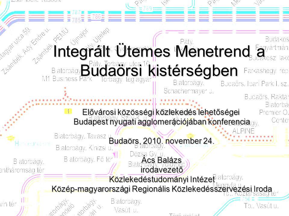 Integrált Ütemes Menetrend a Budaörsi kistérségben Elővárosi közösségi közlekedés lehetőségei Budapest nyugati agglomerációjában konferencia Budaörs, 2010.