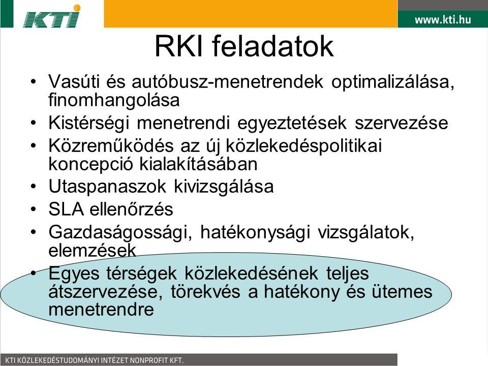 RKI feladatok Vasúti és autóbusz-menetrendek optimalizálása, finomhangolása Kistérségi menetrendi egyeztetések szervezése Közreműködés az új közlekedéspolitikai koncepció kialakításában Utaspanaszok kivizsgálása SLA ellenőrzés Gazdaságossági, hatékonysági vizsgálatok, elemzések Egyes térségek közlekedésének teljes átszervezése, törekvés a hatékony és ütemes menetrendre