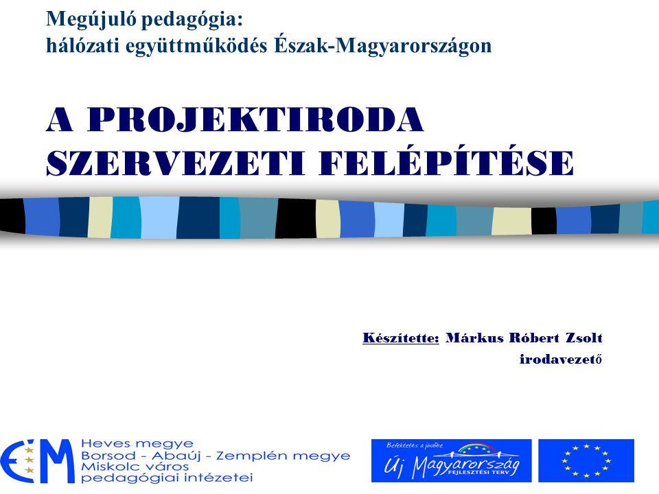 TÁMOP-3.2.2./08/A/2 Területi együttm ű ködések, társulások, hálózati tanulás A projektiroda: n a projekt általános szakmai operatív szervezőmunkáját látja el n a projektmenedzsment irányítása mellett