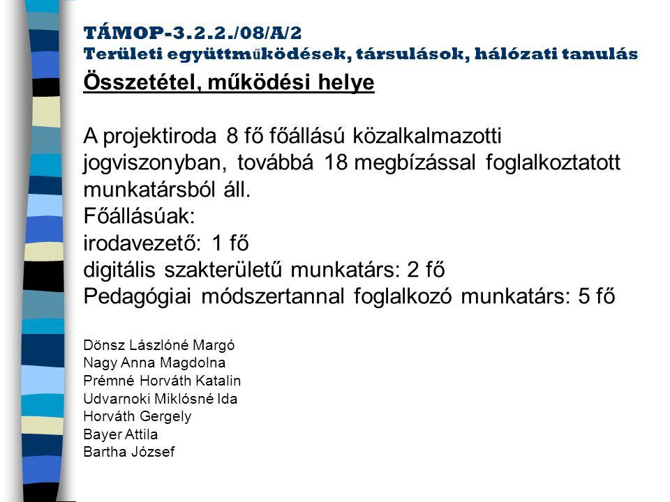 TÁMOP-3.2.2./08/A/2 Területi együttm ű ködések, társulások, hálózati tanulás HelpDesk telefonszám: +36/511-528