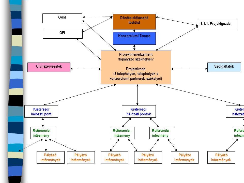 TÁMOP-3.2.2./08/A/2 Területi együttm ű ködések, társulások, hálózati tanulás A projektiroda feladat- és hatásköre kiterjed: n szervezi a projekt egész tartalmára vonatkozó szolgáltatási, kapcsolattartási feladatokat (a pedagógiai szolgáltatókkal kapcsolatot tart fenn, azokat adatbázisban rögzíti, kérésre felkínálja az igénybevevő innovatív intézményeknek.)